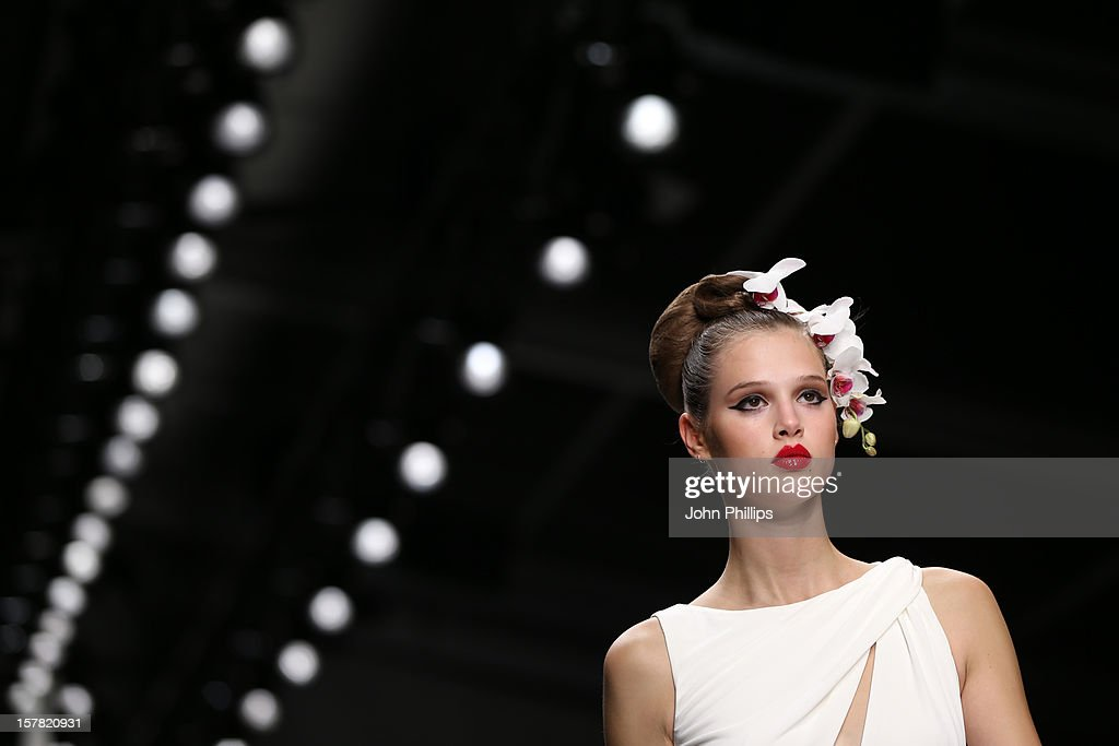 A Model On The Catwalk At The Issa Fashion Show, Part Of London Fashion Week, In The Courtyard Show Space, London.