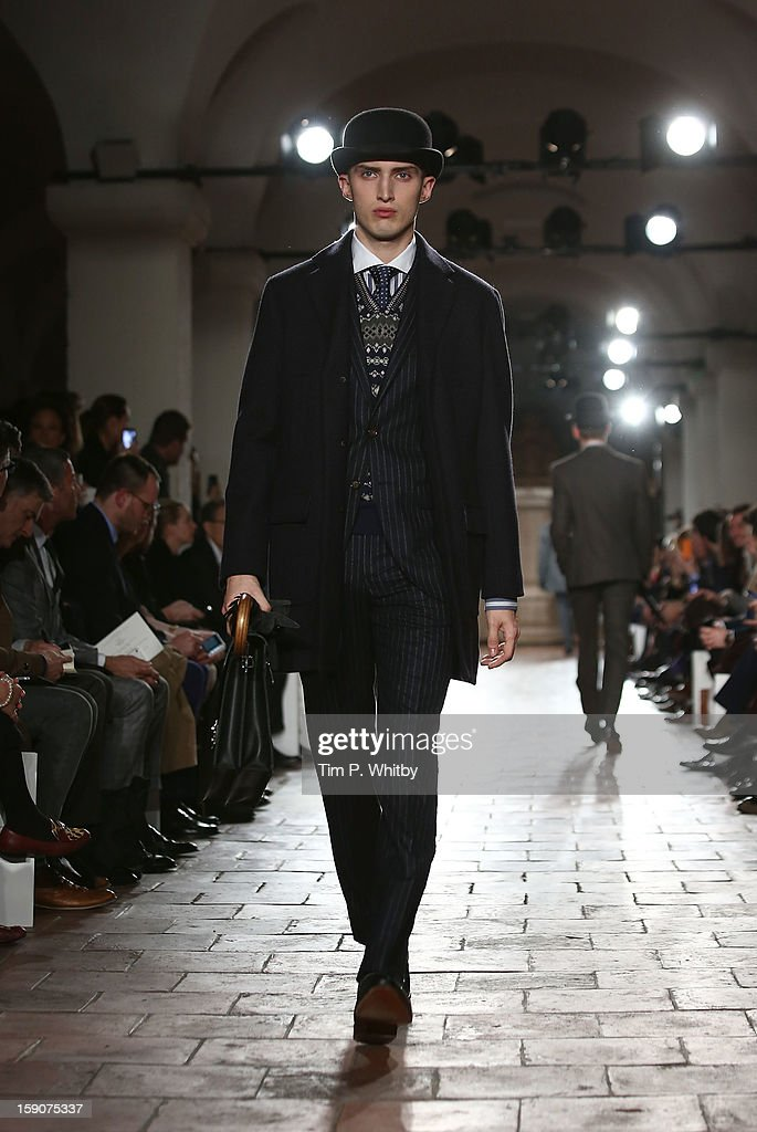 A model on the catwalk during the Hackett London show at the London Collections MEN AW13 at St Paul's Cathedral on January 7 2013 in London England