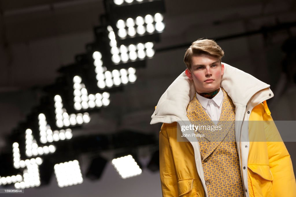 A model on the catwalk during the MAN show at the London Collections: MEN AW13 at The Old Sorting Office on January 7, 2013 in London, England.
