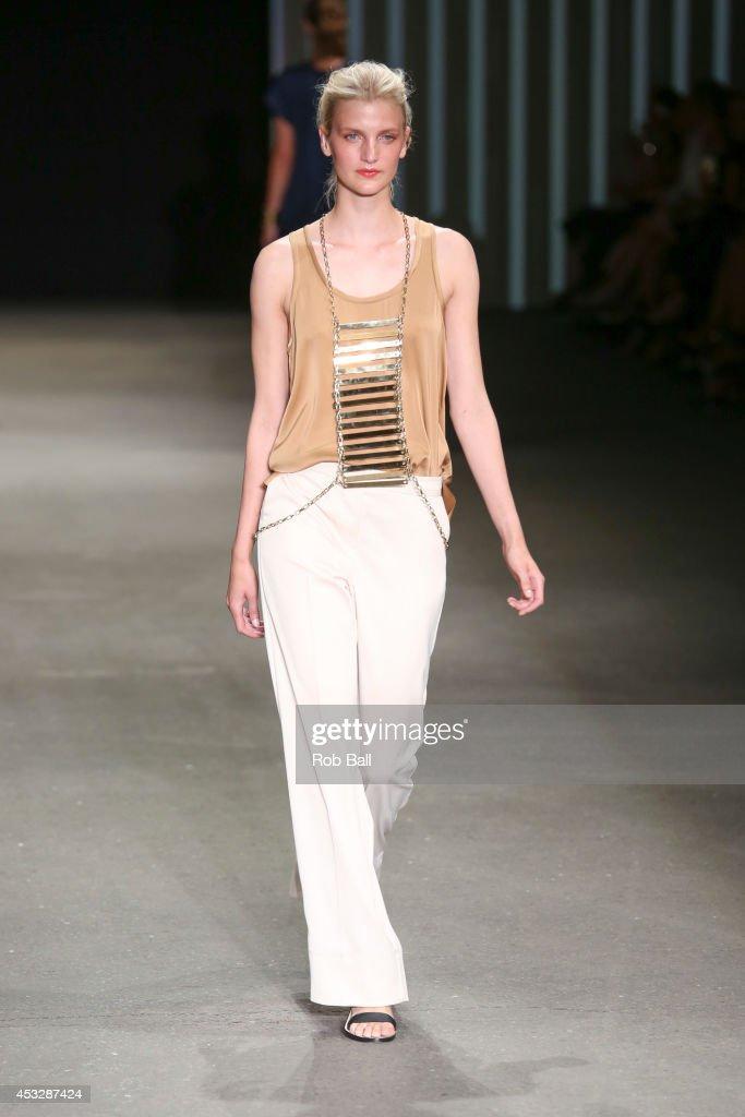 A model on the catwalk for Danish designer Malene Birger at Copenhagen Fashion Week on August 6, 2014 in Copenhagen, Denmark.