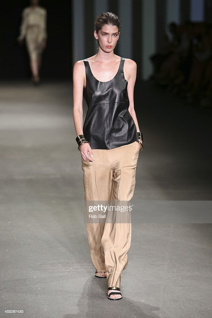 A model on the catwalk for Danish designer Malene Birger at Copenhagen Fashion Week on August 6, 2014 in Copenhagen, Denmark.