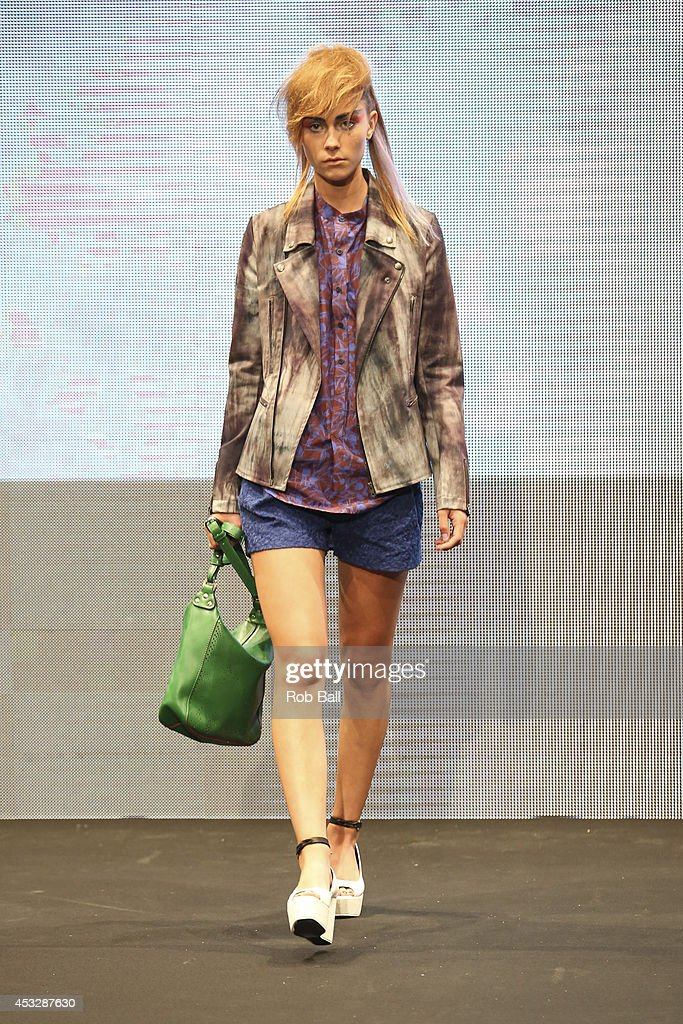 A model on the catwalk for Finish designer 2OR+BYYAT at Copenhagen Fashion Week on August 6, 2014 in Copenhagen, Denmark.