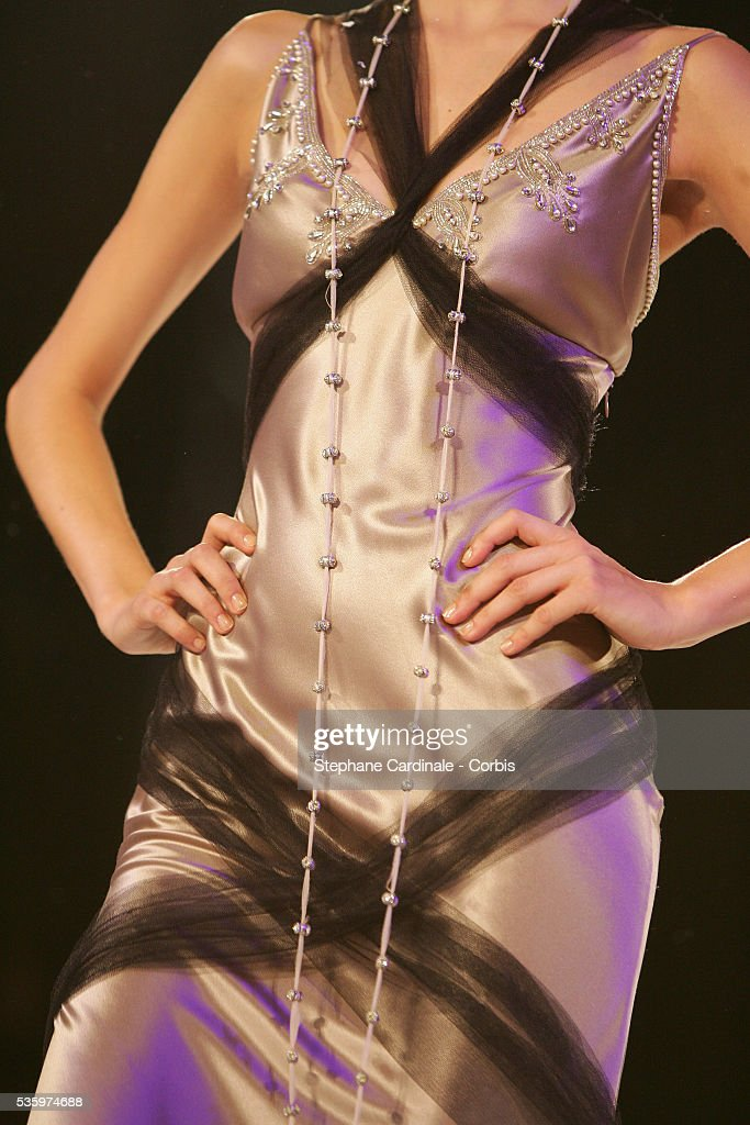 Model on the catwalk presenting the latest outfits from the Christian Lacroix 'Haute Couture' Fall/Winter 2005-2006 fashion collection.
