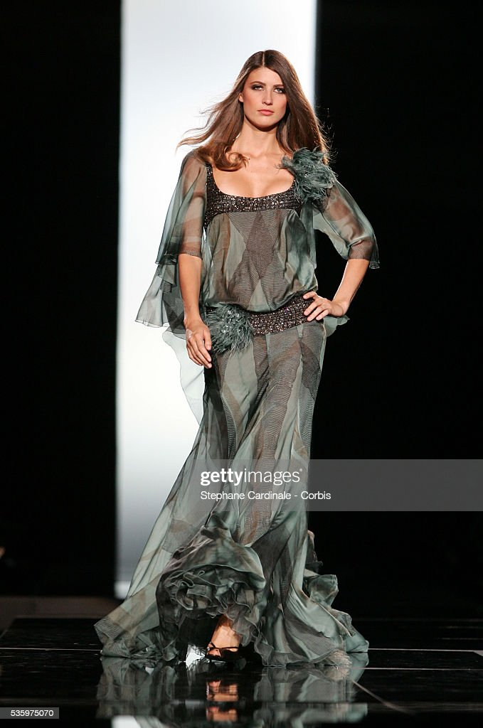 Model on the catwalk presenting the latest outfits from the Elie Saab 'Haute Couture' Fall/Winter 2005-2006 fashion collection.