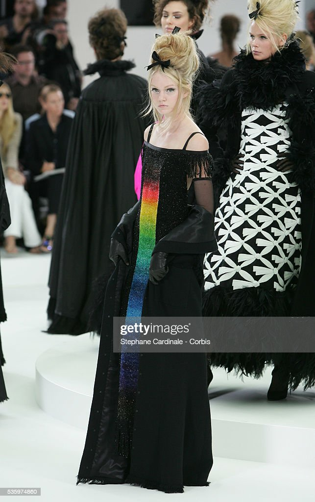 A model on the catwalk presents the Chanel 'Haute Couture' 2005-2006 Fall/Winter fashion collection.