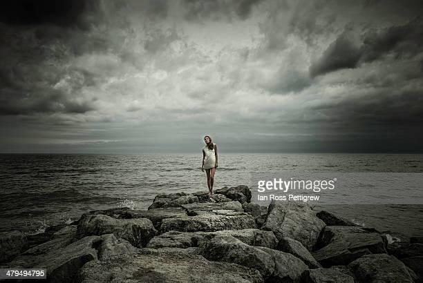 model on the rocks