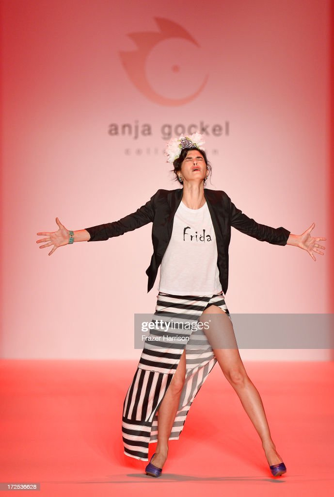 A model on the runway at Anja Gockel show during Mercedes-Benz Fashion Week Spring/Summer 2014 at Brandenburg Gate on July 3, 2013 in Berlin, Germany.
