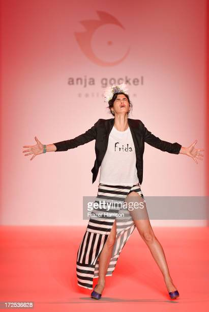 A model on the runway at Anja Gockel show during MercedesBenz Fashion Week Spring/Summer 2014 at Brandenburg Gate on July 3 2013 in Berlin Germany