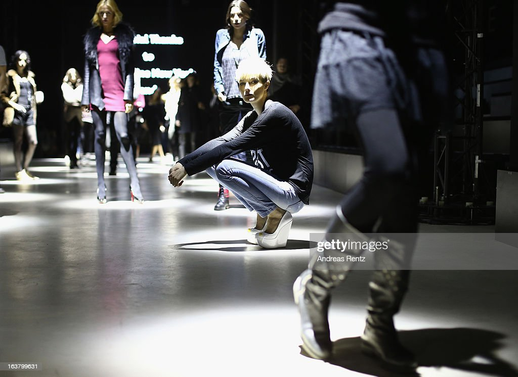 A model on the runway at rehearsals ahead of the Best of Mercedes Benz Fashion Week Istanbul Fall/Winter 2013/14 at Antrepo 3 on March 16, 2013 in Istanbul, Turkey.