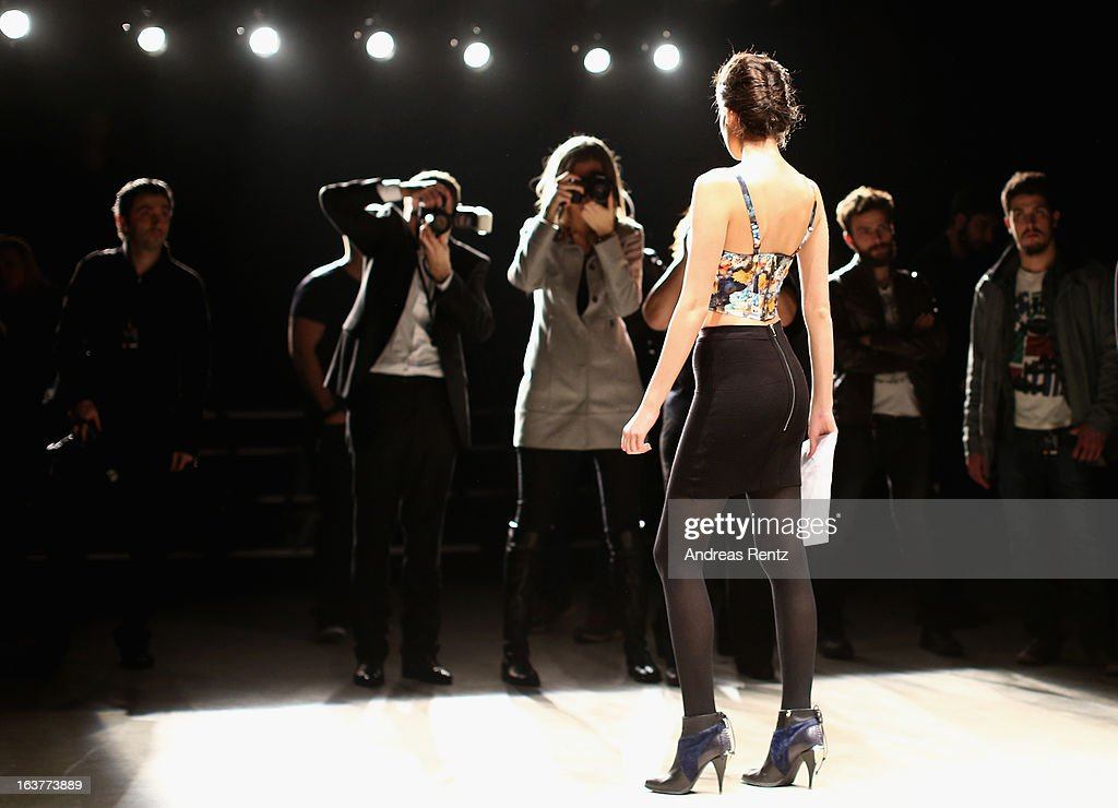 A model on the runway at rehearsals ahead of the Soul By Ozgur Masur show during Mercedes-Benz Fashion Week Istanbul Fall/Winter 2013/14 at Antrepo 3 on March 15, 2013 in Istanbul, Turkey.