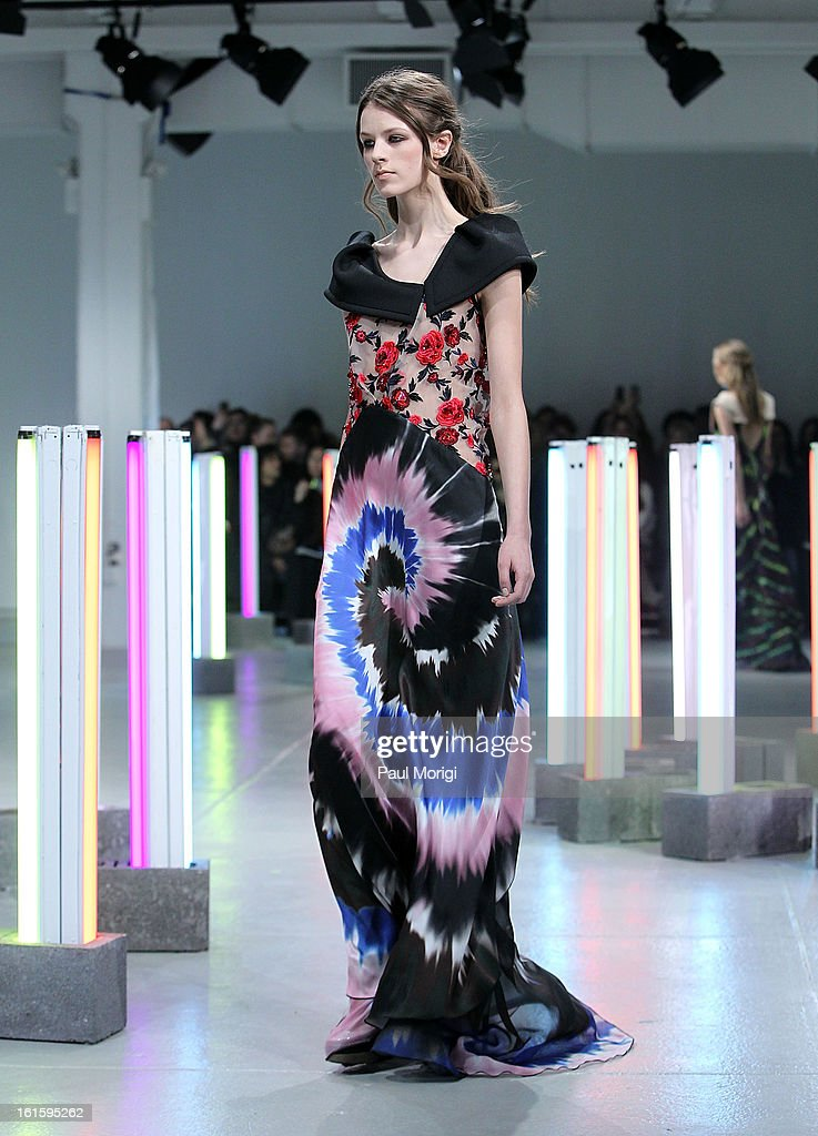 A model on the runway at Rodarte during Fall 2013 Mercedes-Benz Fashion Week on February 12, 2013 in New York City.
