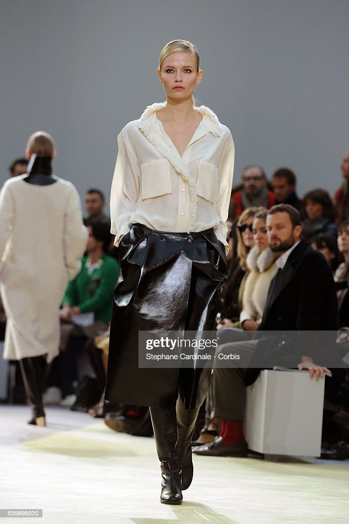 A model on the runway at the Celine Ready To Wear show, as part of the Paris Fashion Week Fall/Winter 2010-2011.