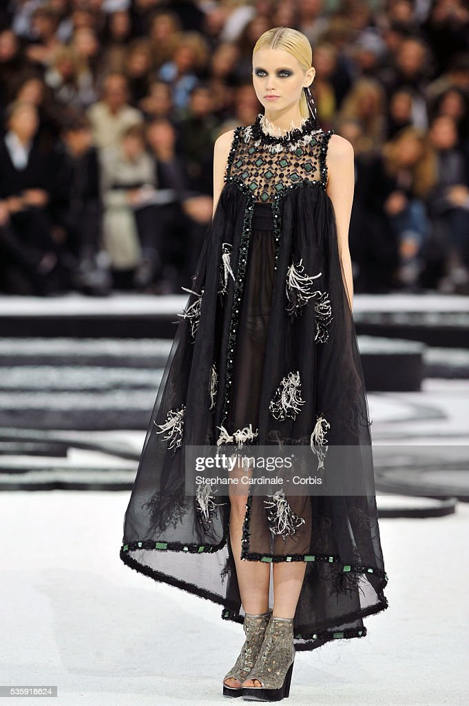 A model on the runway at the Chanel show as part of Paris Fashion Week Spring/Summer 2011 at the 'Grand Palais' in Paris.