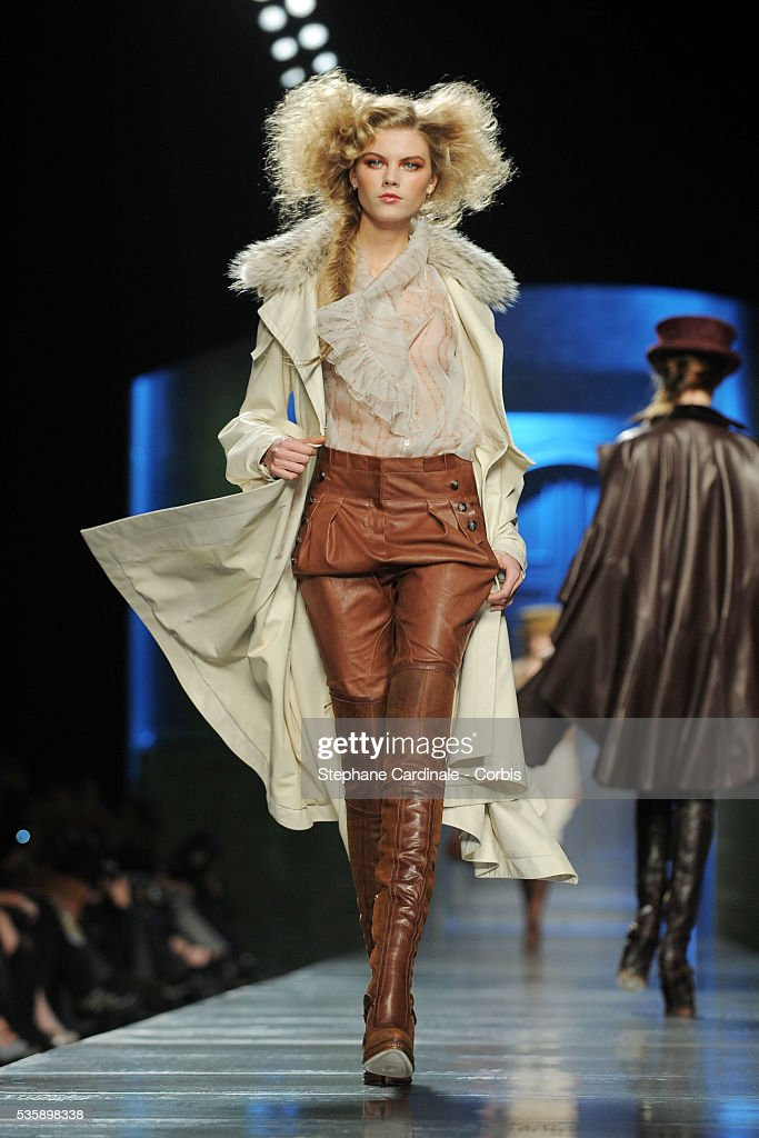 A model on the runway at the Christian Dior Ready To Wear show, as part of the Paris Fashion Week Fall/Winter 2010-2011.