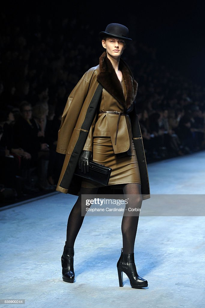 A model on the runway at the Hermes Ready To Wear show, as part of the Paris Fashion Week Fall/Winter 2010-2011.