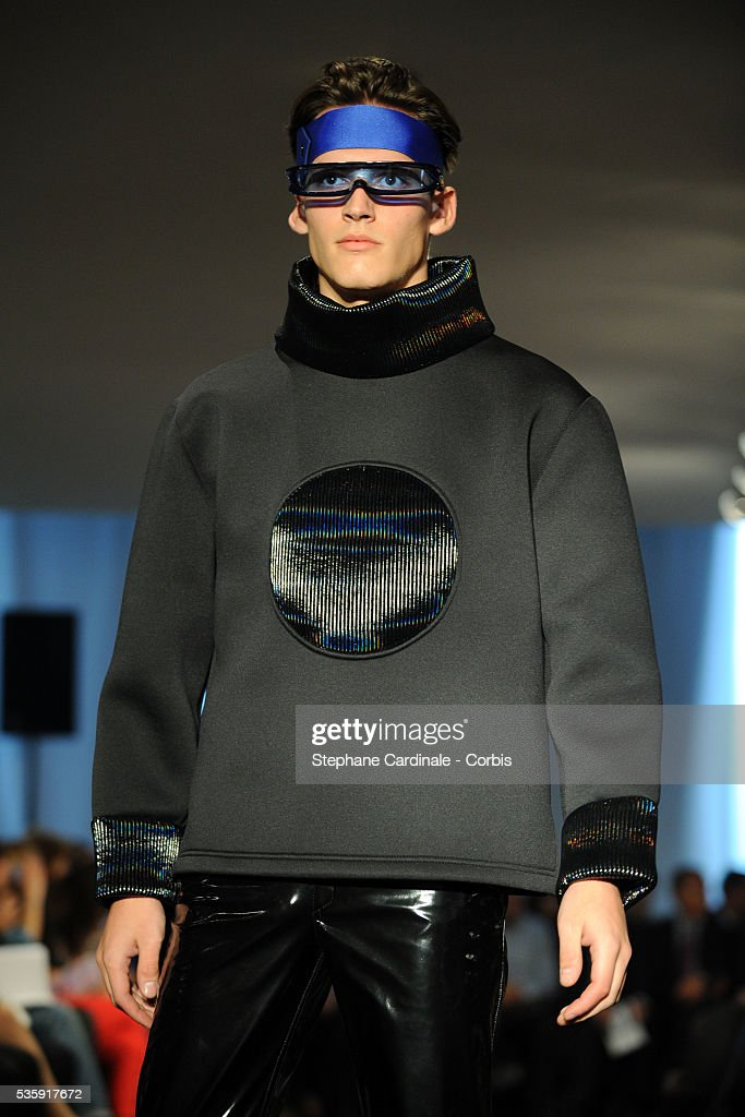 A model on the runway at the Pierre Cardin show as part of Paris Fashion Week Spring/Summer 2011 at Espace Pierre Cardin in Paris.