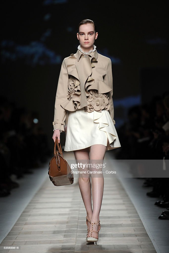 A model on the runway at the Valentino Ready To Wear show, as part of the Paris Fashion Week Fall/Winter 2010-2011.