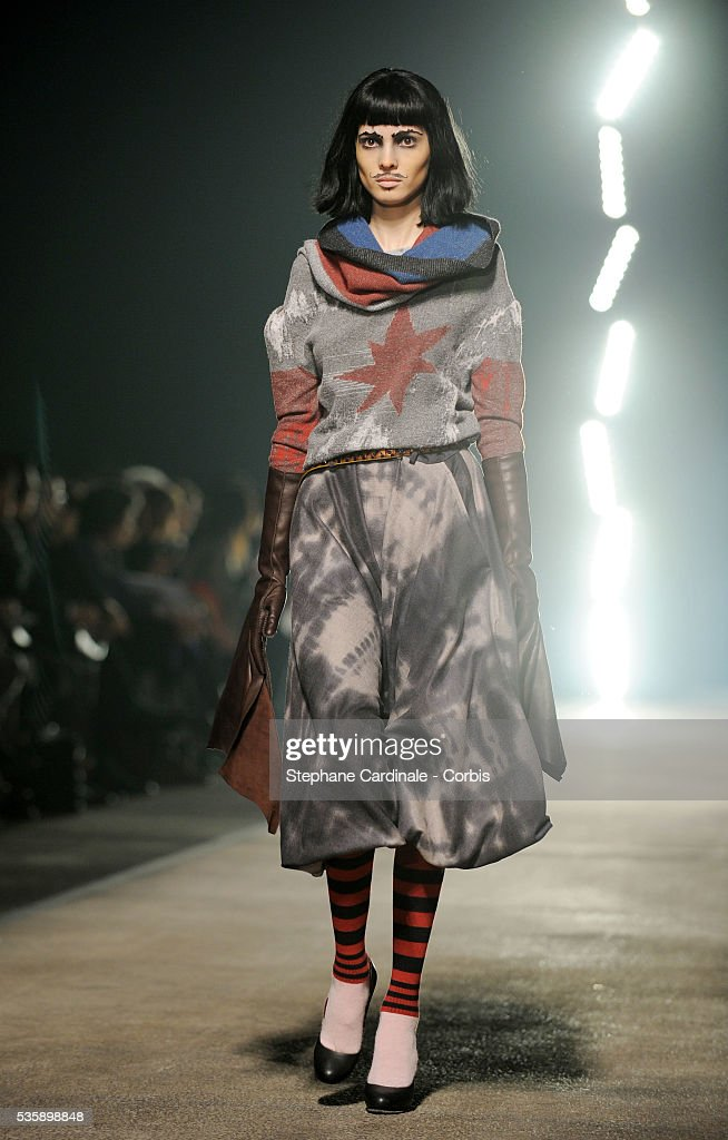 A model on the runway at the Vivienne Westwood Ready To Wear show, as part of the Paris Fashion Week Fall/Winter 2010-2011.