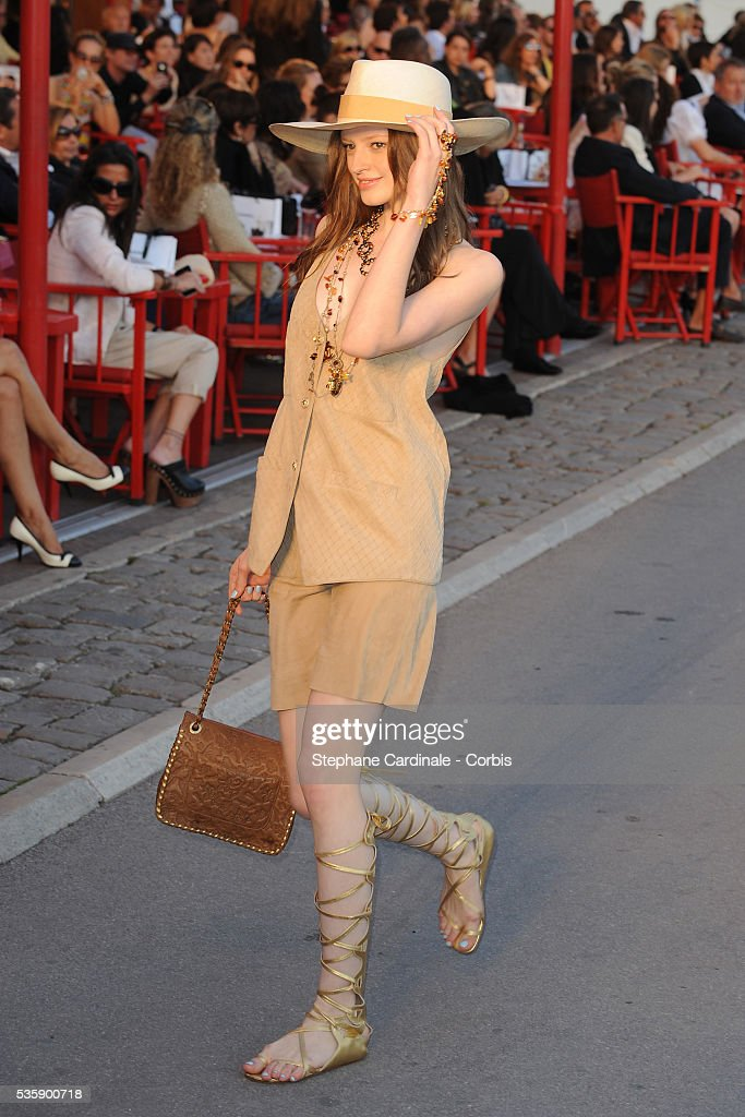A model on the runway during the Chanel Cruise Collection Presentation in Saint Tropez