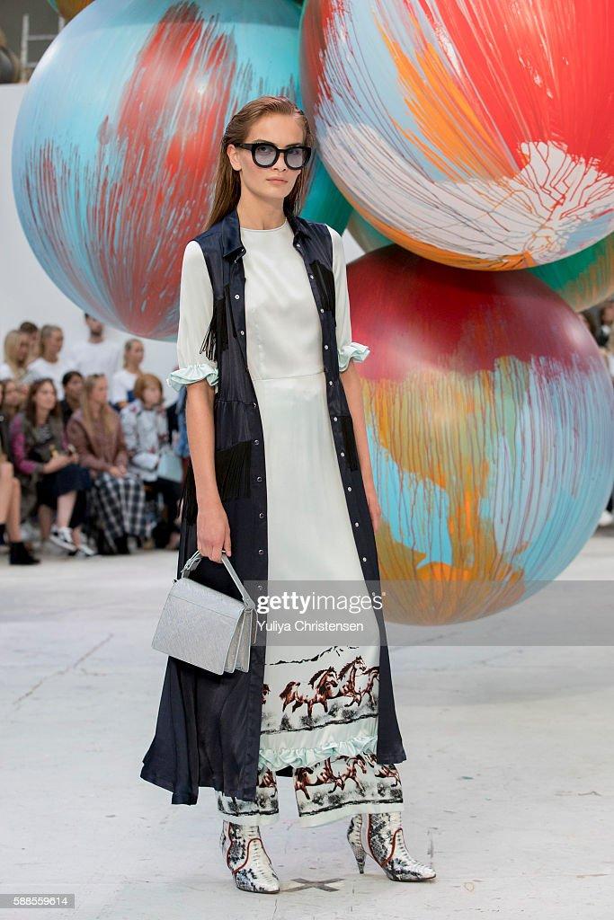 A model on the runway for Ganni during the Copenhagen Fashion Week Spring/Summer 2017 on August 11 2016 in Copenhagen Denmark