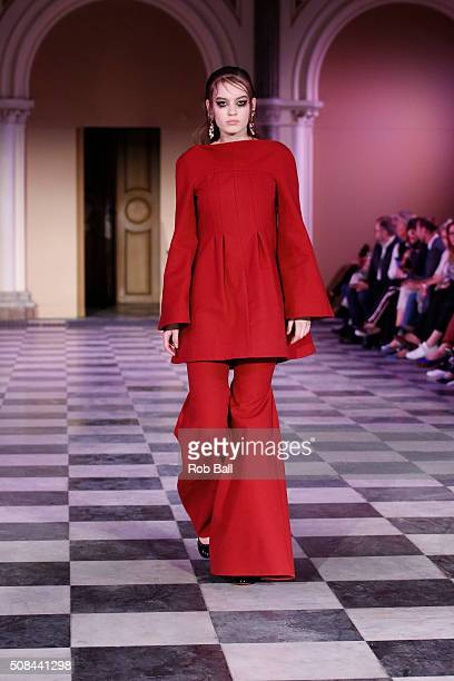 A model on the runway for Mark Kenly Domino Tan during the Copenhagen Fashion Week Autumn/Winter 2016 on February 4 2016 in Copenhagen Denmark