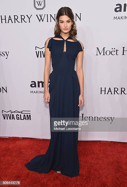 Model Ophelie Guillermand attends 2016 amfAR New York Gala at Cipriani Wall Street on February 10 2016 in New York City