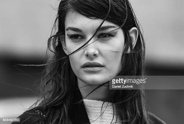 Model Ophelie Guillermand is seen wearing teal eye liner outside of the ROCHAMBEAU show during New York Fashion Week Men's AW17 on February 1 2017 in...