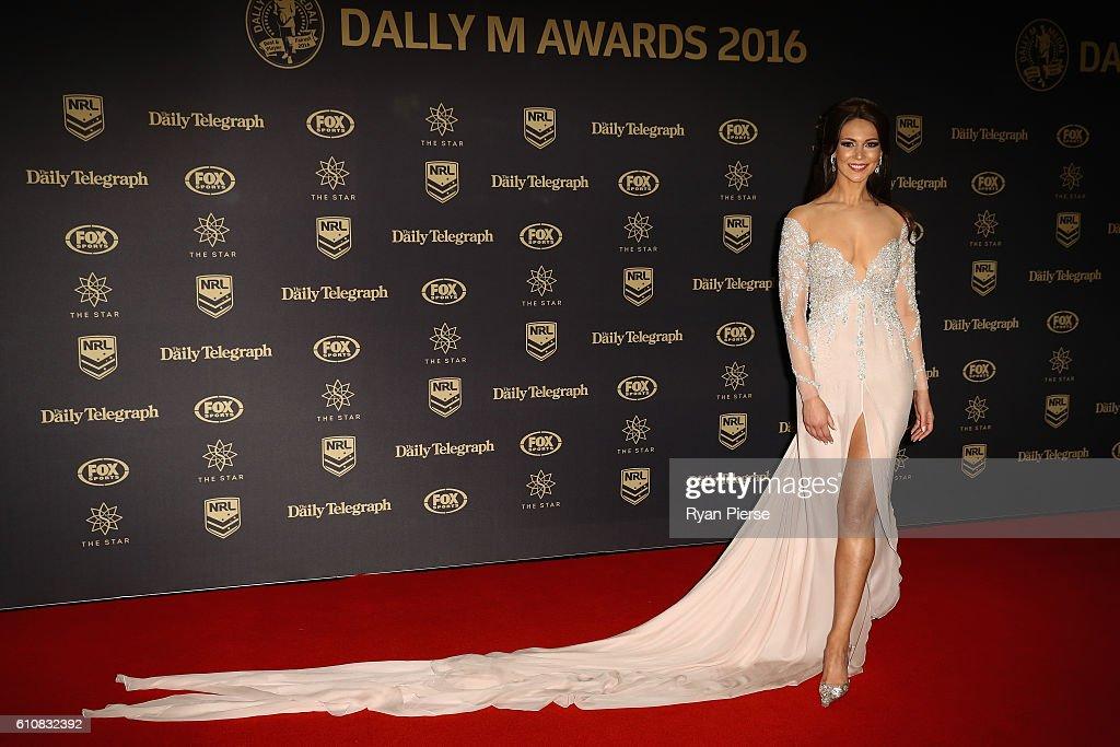 Model, Ortenzia Borre arrives at the 2016 Dally M Awards at Star City on September 28, 2016 in Sydney, Australia.