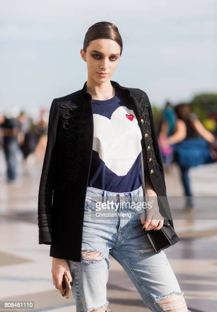 A model outside Armani Prive during Paris Fashion Week Haute Couture Fall/Winter 20172018 Day Three on July 4 2017 in Paris France