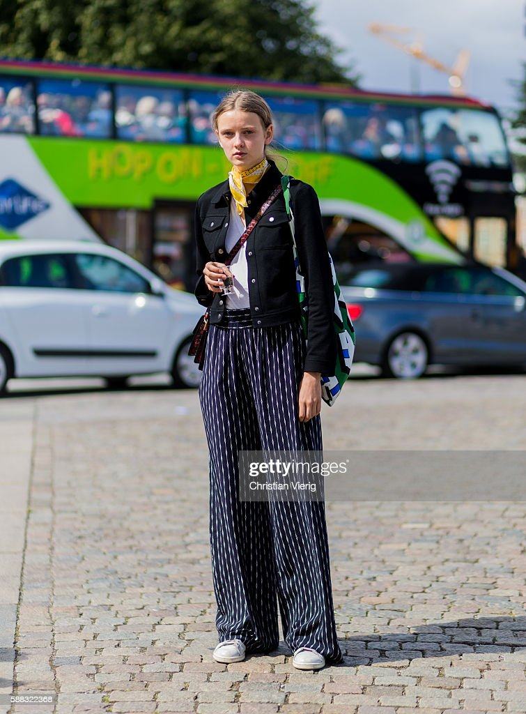 A model outside Freya Dalsjo during the first day of the Copenhagen Fashion Week Spring/Summer 2017 on August 10, 2016 in Copenhagen, Denmark.