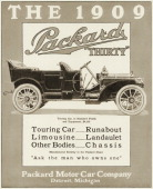 A 1909 model Packard Thirty automobile is shown in a magazine advertisement from 1908 The ad suggests 'Ask the man who owns one' The Touring Car...