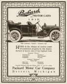A 1910 model Packard Thirty Touring Car is shown in a magazine advertisement from 1909