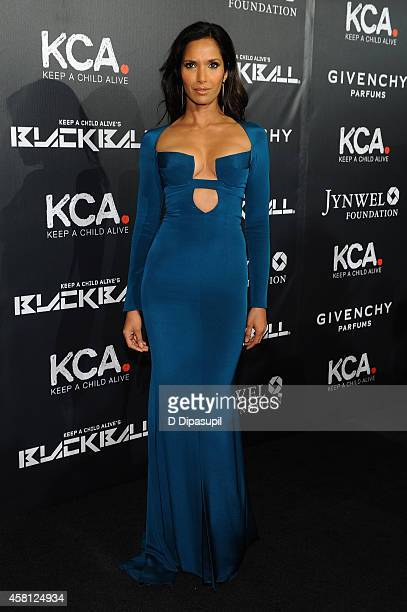 Model Padma Lakshmi attends the 9th annual Keep A Child Alive Black Ball at Hammerstein Ballroom on October 30 2014 in New York City