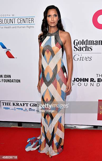 Model Padma Lakshmi attends the Elton John AIDS Foundation's 13th Annual An Enduring Vision Benefit at Cipriani Wall Street on October 28 2014 in New...