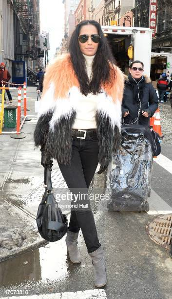 Model Padma Lakshmi is seen walking in Soho on February 20 2014 in New York City