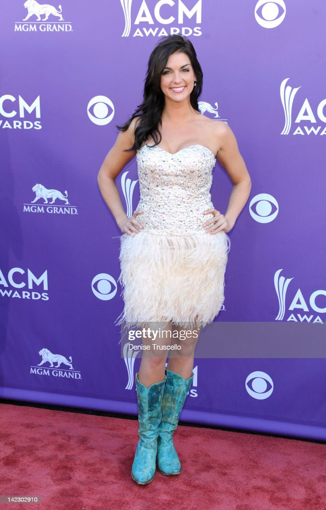 Model Paige Duke arrives at the 47th Annual Academy Of Country Music Awards held at the MGM Grand Garden Arena on April 1, 2012 in Las Vegas, Nevada.