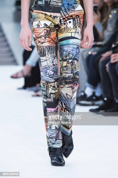 A model pants detail showcases the design on runway during the Louis Vuitton Resort 2018 show at the Miho Museum on May 14 2017 in Koka Japan
