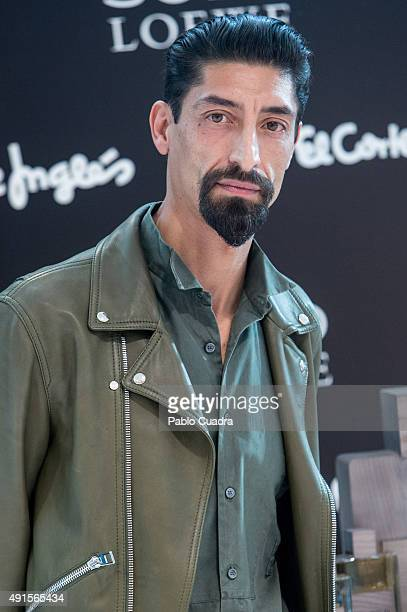 Model Paolo Henriques presents the new fragance by Loewe 'Solo Loewe Cedro' at El Corte Ingles store on October 6 2015 in Madrid Spain
