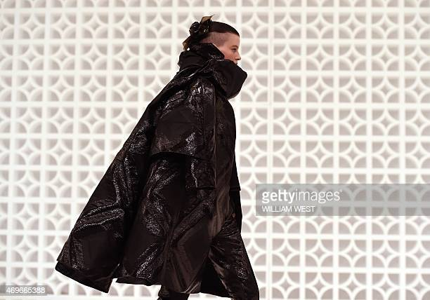 A model parades an outfit by Australian label Maticevski at Fashion Week Australia in Sydney on April 14 2015 AFP PHOTO / William WEST