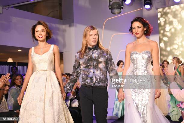 Model Patricia Contreras Christophe Guillarme and miss France 2012 Delphine Wespiser walk the runway during the Christophe Guillarme Show as part of...