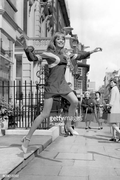 Model Patti Boyd shows a very short dress named 'Hoopla' in London's West End It was one of the Quorum Autumn Collection designed by Ossie Clark...