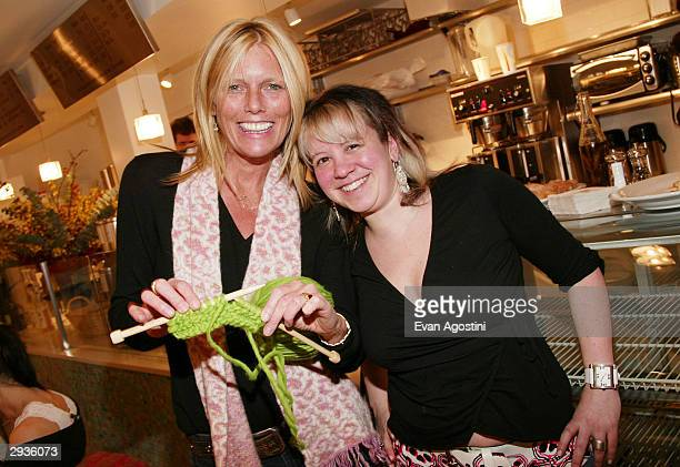 Model Patti Hanson and Knit New York owner Miriam Maltagliati attend a knitting party hosted by IMG Models at Knit February 5 2004 in New York City