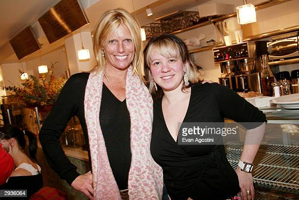 Model Patti Hanson and Knit New York owner Miriam Maltagliati attends a knitting party hosted by IMG Models at Knit February 5 2004 in New York City