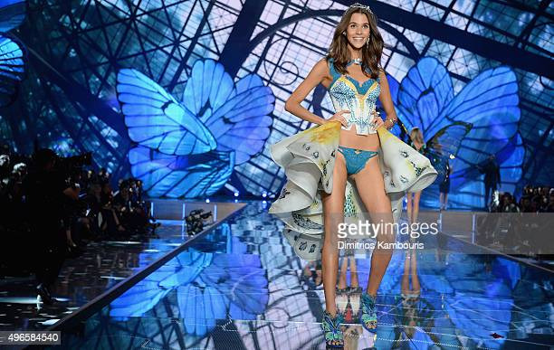 Model Pauline Hoarau from Reunion Island walks the runway during the 2015 Victoria's Secret Fashion Show at Lexington Avenue Armory on November 10...