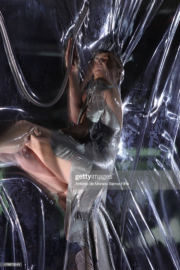 A model performs at the runway during the Iris Van Herpen show as part of the Paris Fashion Week Womenswear Fall/Winter 2014-2015 on March 4, 2014 in Paris, France.