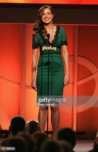 Model Petra Nemcova appears on stage at the 17th annual GLAAD Media Awards at the Marriott Marquis Hotel March 27 2006 in New York City