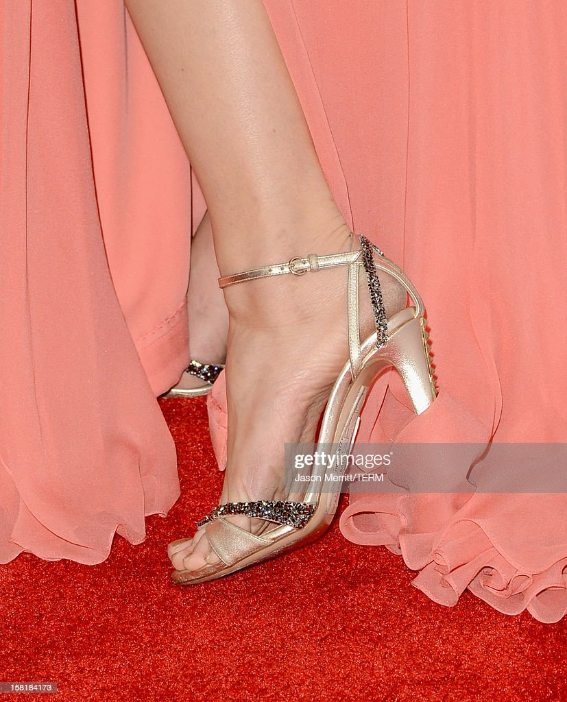 Model Petra Nemcova (shoe detail) attends the Los Angeles premiere of Summit Entertainment's 'The Impossible' at ArcLight Cinemas Cinerama Dome on December 10, 2012 in Hollywood, California.