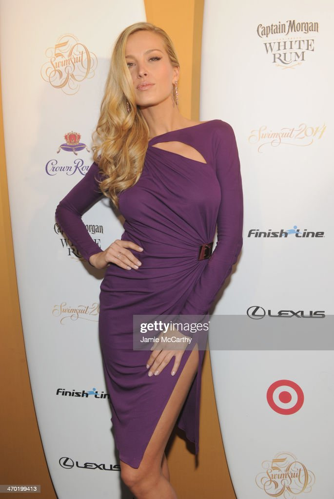 Model <a gi-track='captionPersonalityLinkClicked' href=/galleries/search?phrase=Petra+Nemcova&family=editorial&specificpeople=201716 ng-click='$event.stopPropagation()'>Petra Nemcova</a> attends the Sports Illustrated Swimsuit 50 Years of Swim in NYC Celebration at the Sports Illustrated Swimsuit Beach House on February 18, 2014 in New York City.
