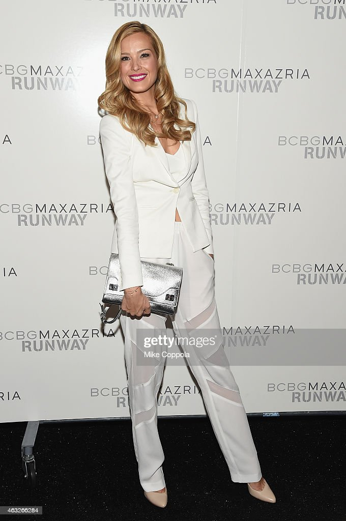 Model Petra Nemcova poses backstage at the BCBGMAXAZRIA fashion show during MercedesBenz Fashion Week Fall 2015 at The Theatre at Lincoln Center on...
