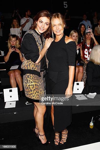 Model Phoebe Tonkin and Lara Bingle attend the Camilla and Marc show during MercedesBenz Fashion Week Australia Spring/Summer 2013/14 at...